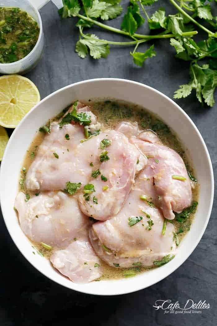 Cilantro Lime Chicken Salad And Mango Salsa | http://cafedelites.com