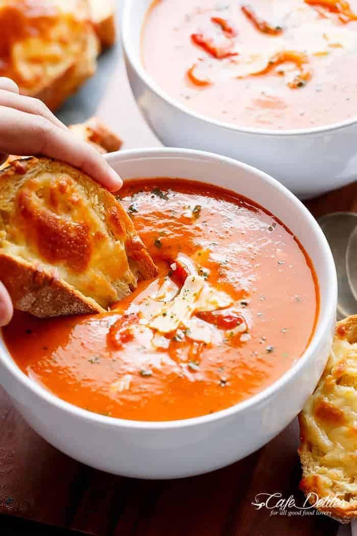Creamy Roasted Tomato Basil Soup (No Cream)