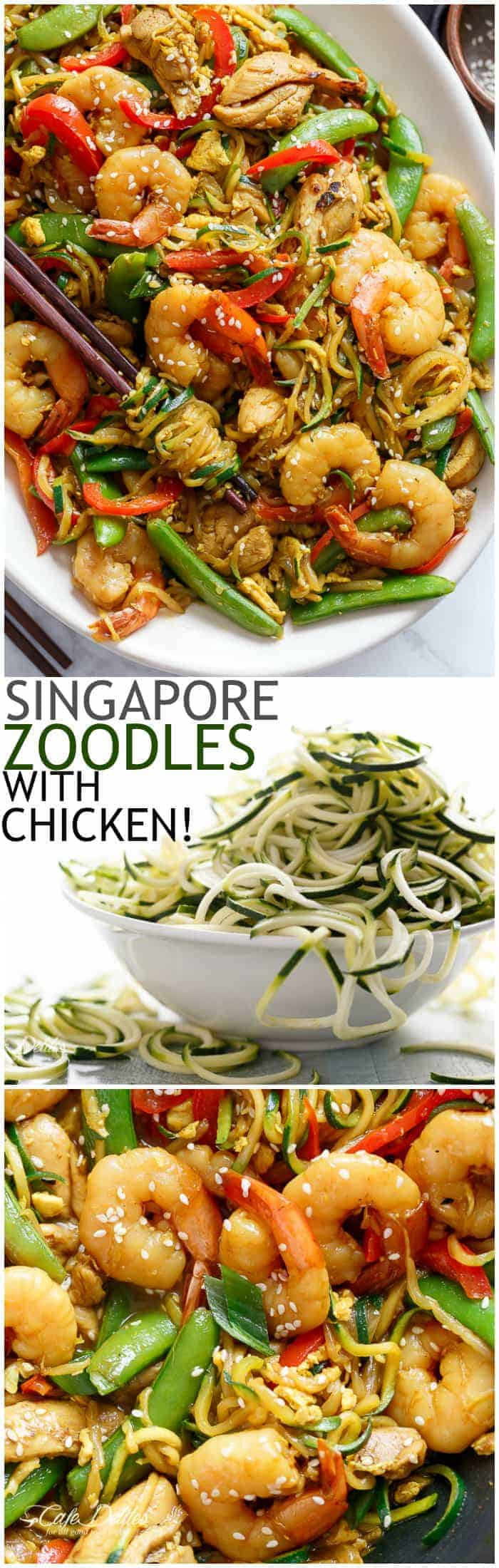 A twist on the classic Singapore Noodles -- same classic flavours only low carb and low calories with Zoodles! | https://cafedelites.com