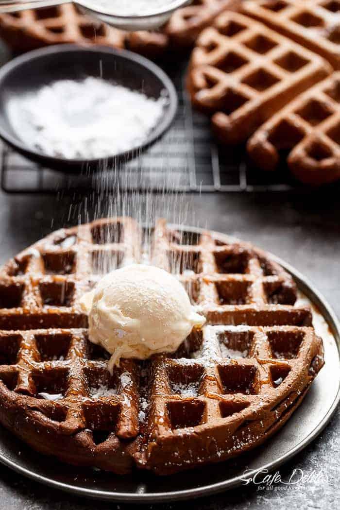 Dark Chocolate Cake Waffles | http://cafedelites.com