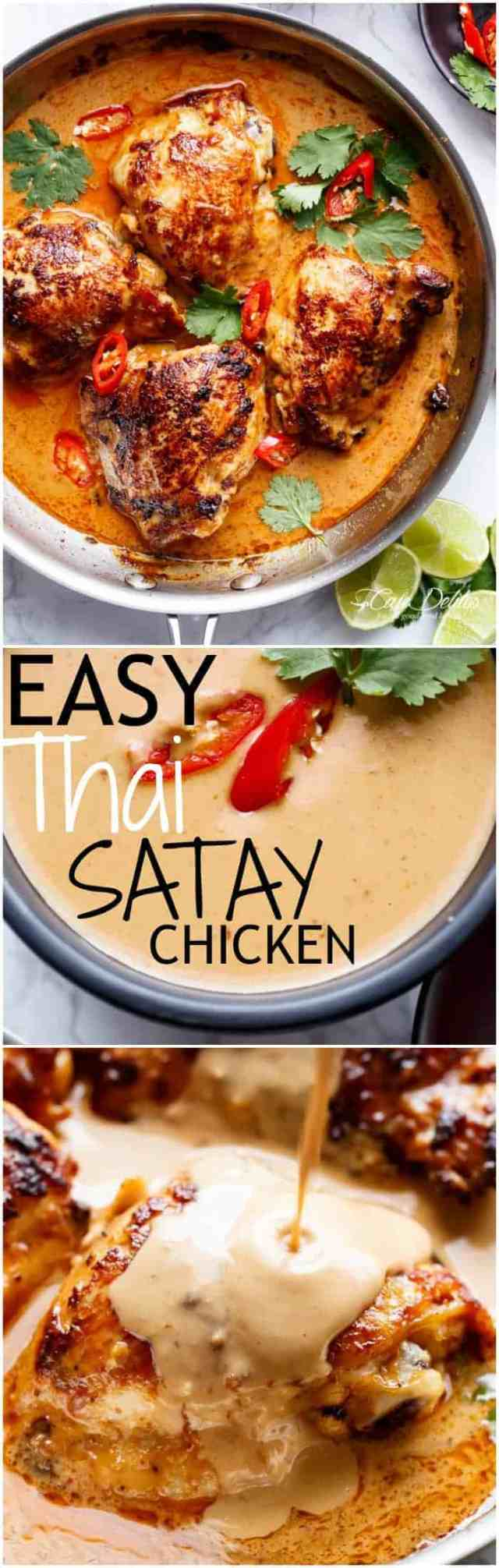 Thai Satay Chicken In A Creamy Peanut Sauce with a special ingredient that makes this satay something spectacular in minutes! | https://cafedelites.com