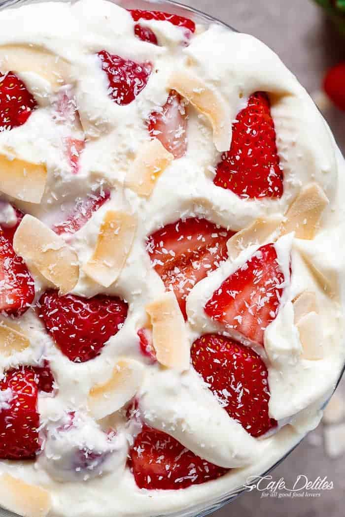 Strawberry Coconut Cheesecake Salad | http://cafedelites.com