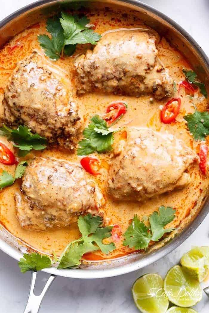 Thai Satay Chicken Thighs In Peanut Sauce | https://cafedelites.com