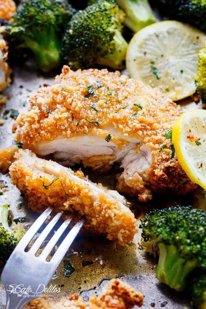 Oven Fried Chicken + Broccoli + Honey Garlic Sauce | https://cafedelites.com