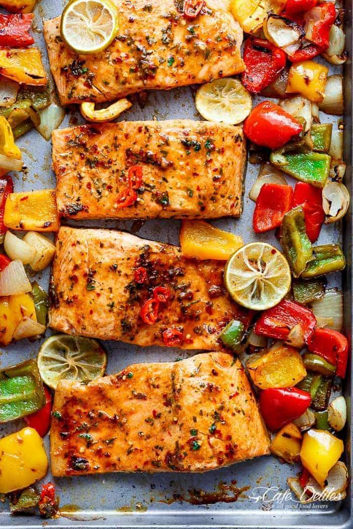 Wonderful Sheet Pan Chili Lime Salmon With Fajita Flavours, And A Charred, Crispy  Roasted Trio