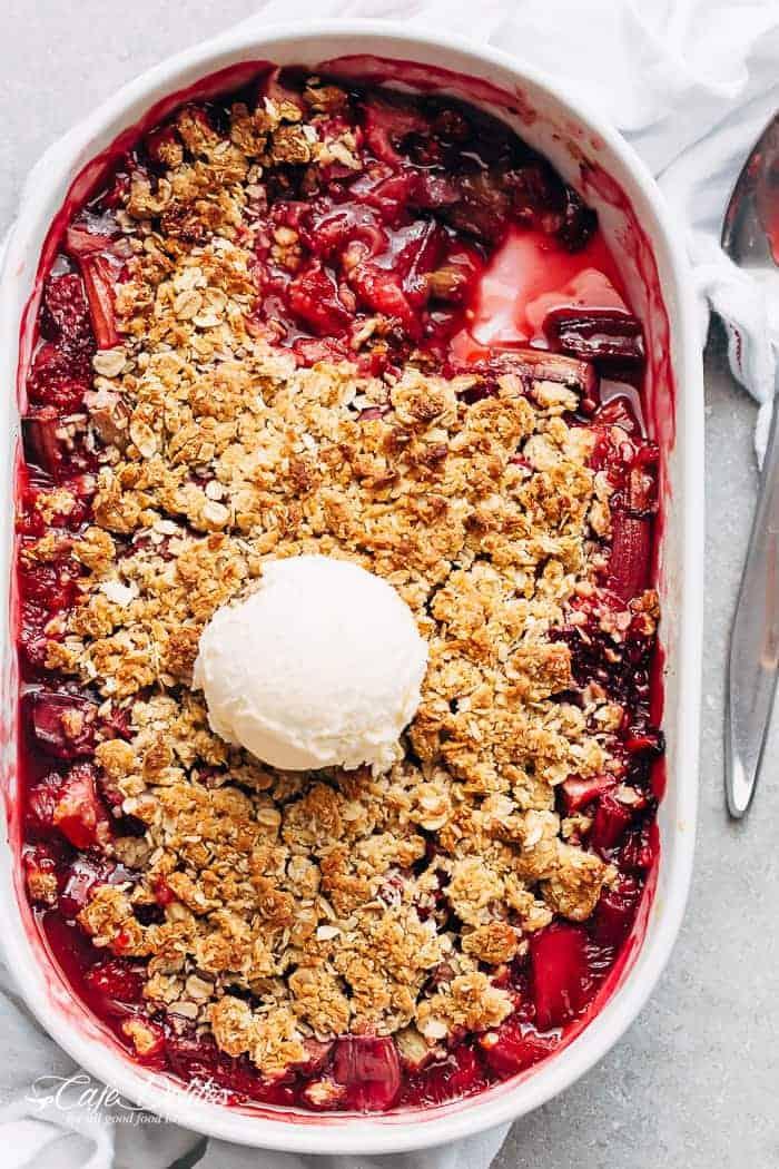 Strawberry Rhubarb Crisp Crumble Cafe Delites