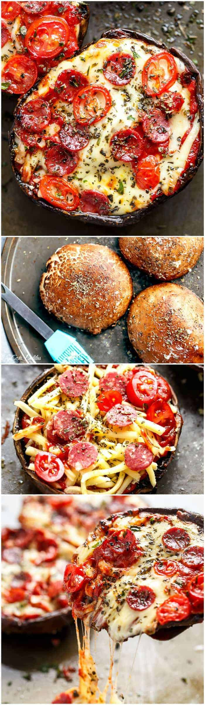 10-Minute Portobello Pizzas have ALL the flavours of a GOOD pizza without the guilt! These pizzas are quick and easy to make, low carb and ready in 10 minutes!   https://cafedelites.com