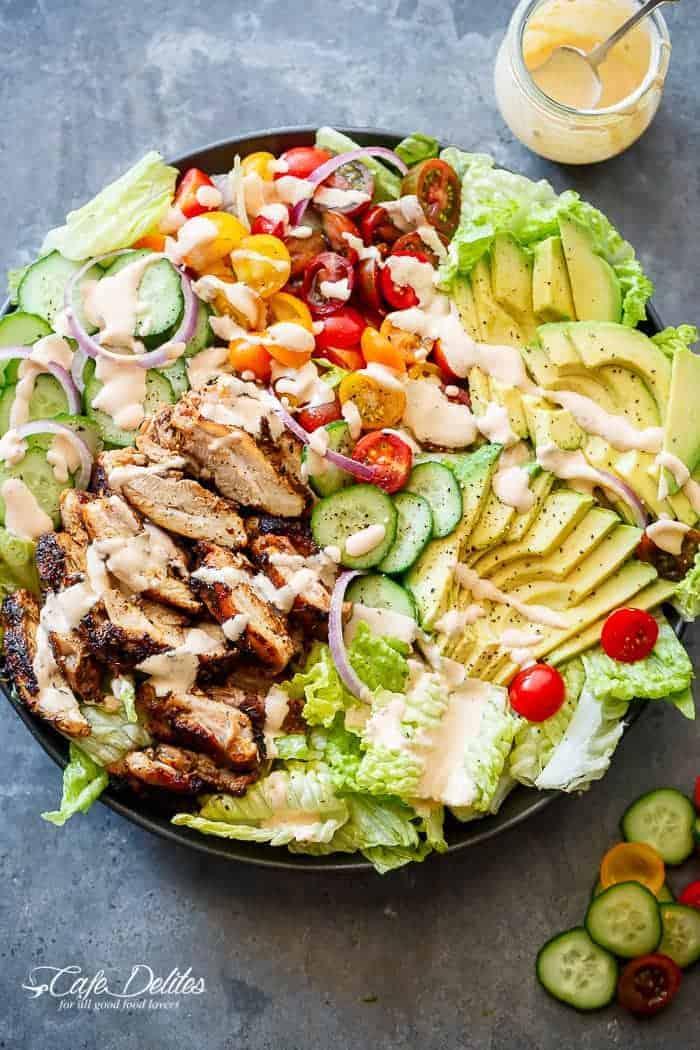 Grilled Cajun Chicken Salad with Creamy Cajun Dressing   https://cafedelites.com