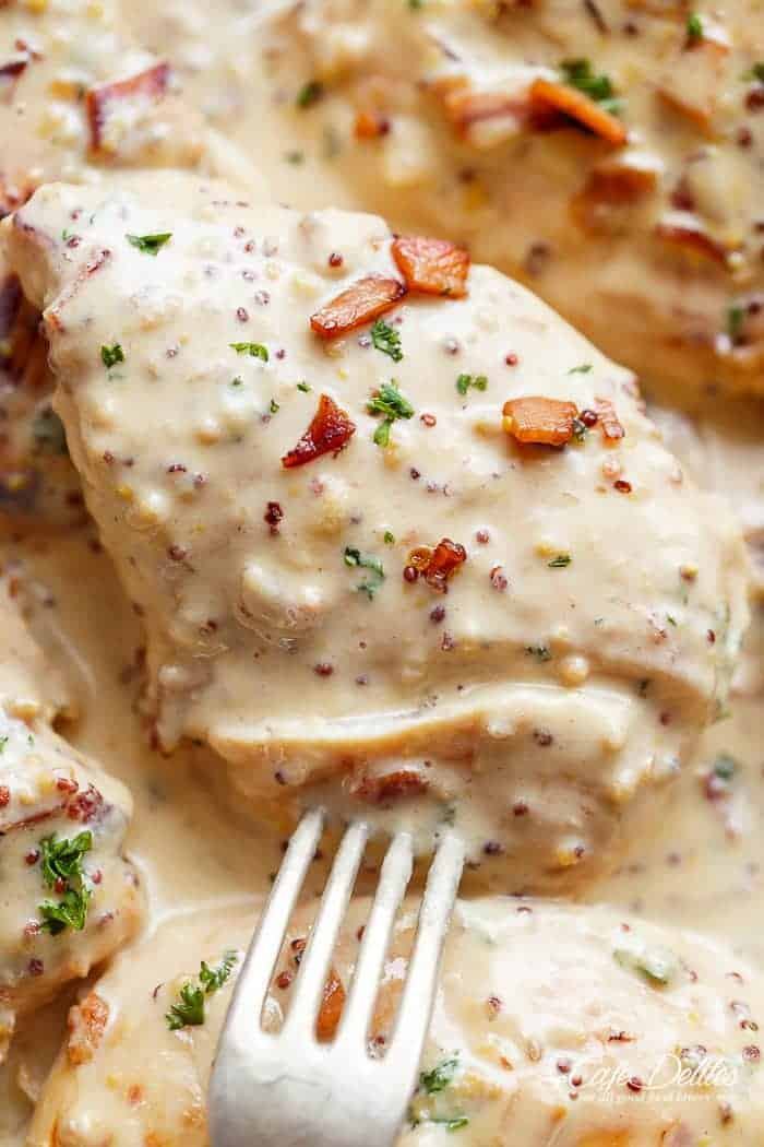 Creamy Honey Mustard Chicken With Bacon | http://cafedelites.com