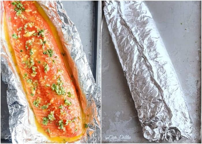 Honey Garlic Butter Salmon In Foil Recipe | https://cafedelites.com