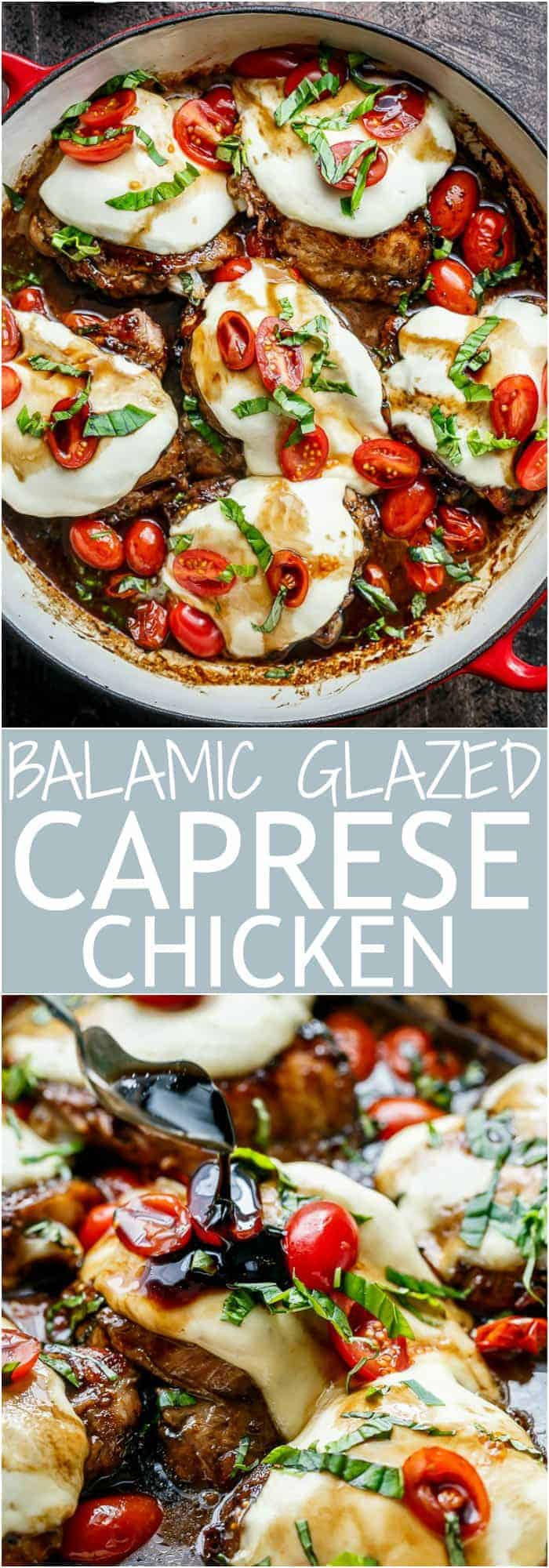 Caprese Chicken cooked right in a sweet, garlic balsamic glaze with juicy cherry tomatoes, fresh basil and topped with melted mozzarella cheese! | cafedelites.com