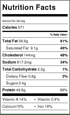 2 Ingredient Pesto Chicken-Nutrition-Label
