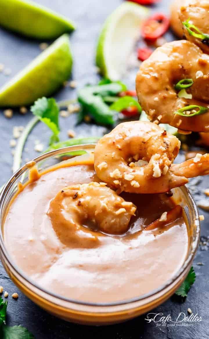 Grilled Satay Shrimp Skewers | http://cafedelites.com