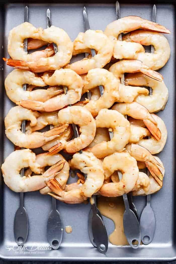 Satay Shrimp Skewers | https://cafedelites.com