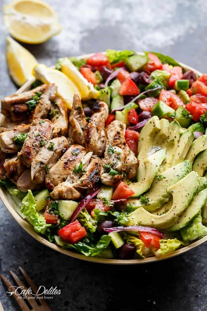Grilled Lemon Herb Mediterranean Chicken Salad | https://cafedelites.com