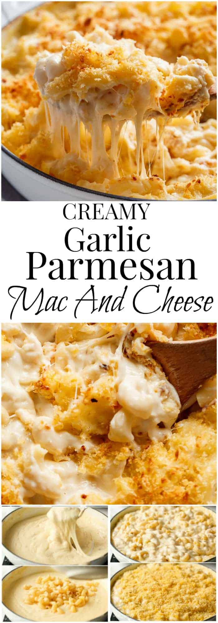 Garlic Parmesan Mac And Cheese is better than the original! A creamy garlic parmesan cheese sauce coats your macaroni, topped with parmesan fried bread crumbs, while saving some calories! | https://cafedelites.com