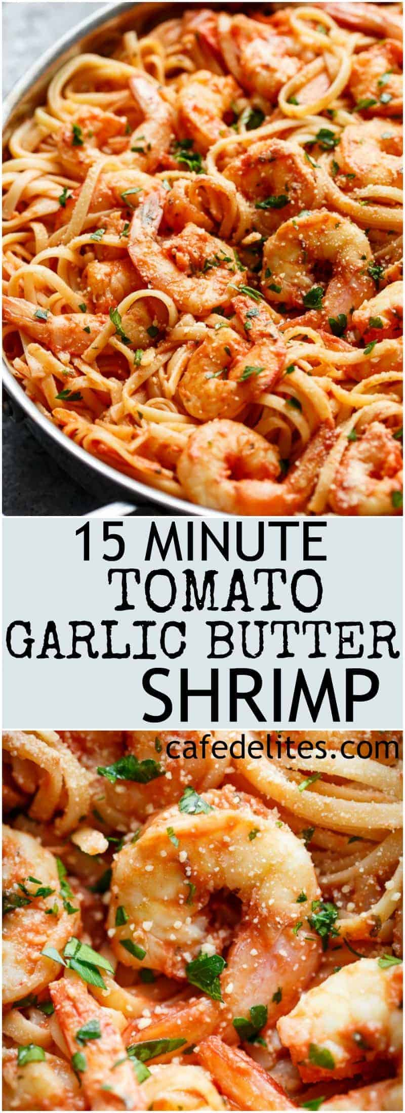 Pasta gets a delicious make over with this 15-Minute Creamy Tomato Garlic Butter Shrimp! A quick and easy flavourful dinner in minutes! | https://cafedelites.com