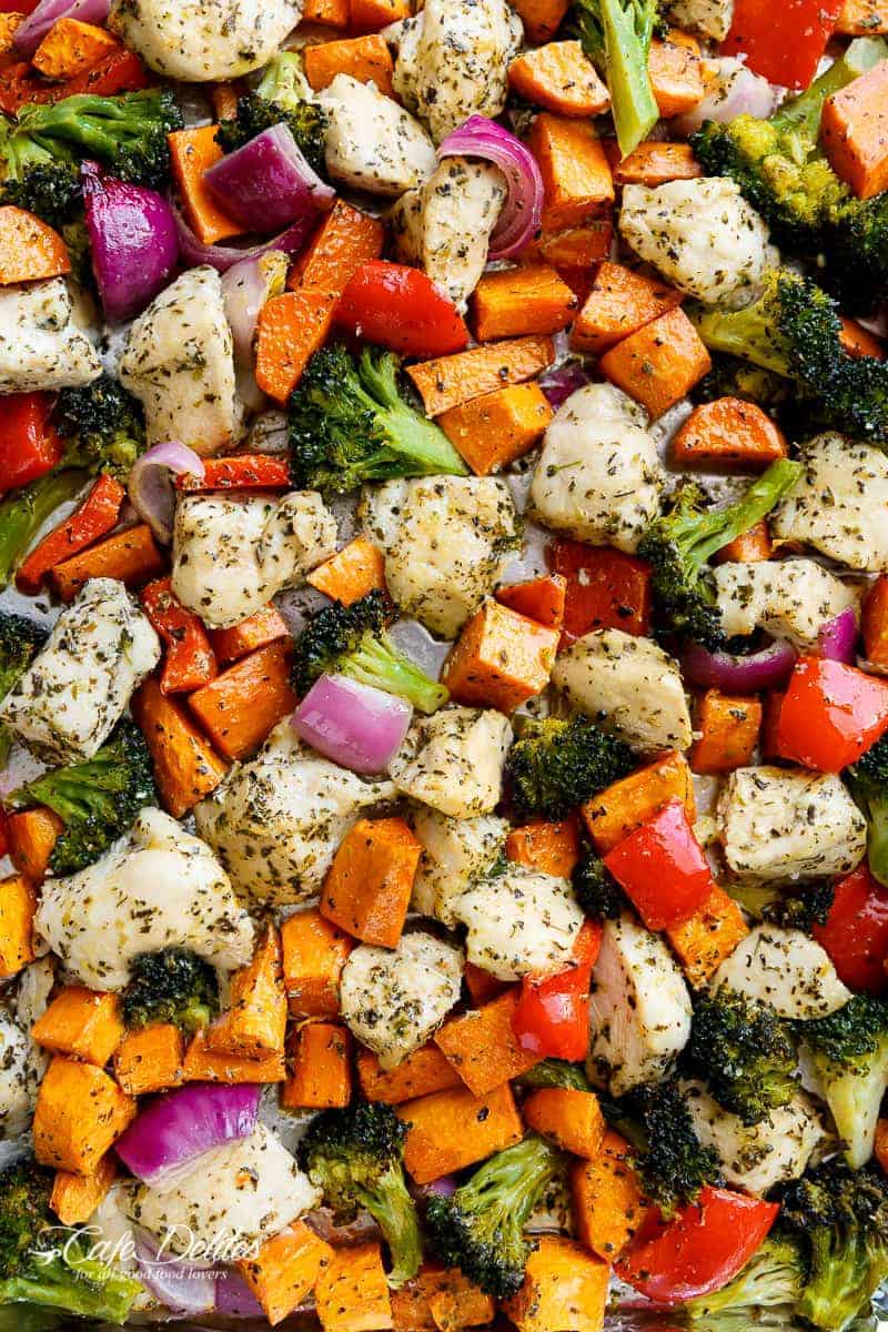 Garlic Herb Chicken & Sweet Potato Sheet Pan Meal Prep