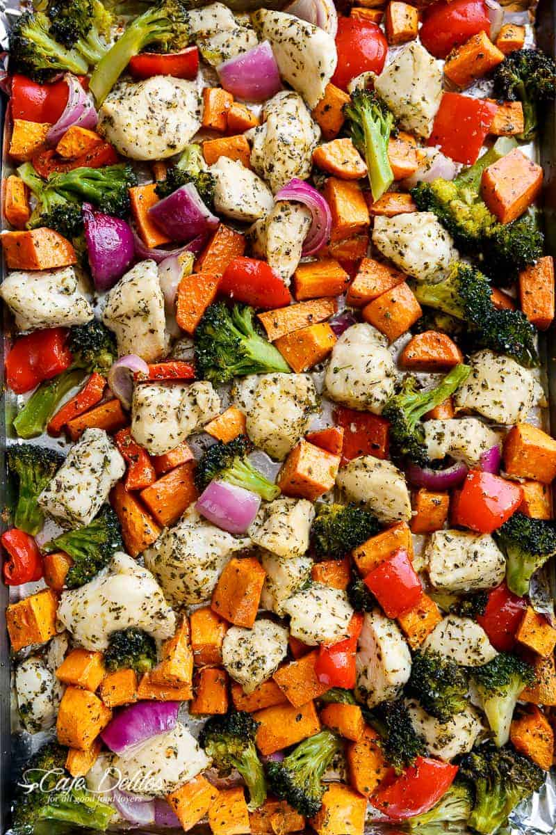 Garlic Herb Chicken and Sweet Potato Sheet Pan Meal Prep