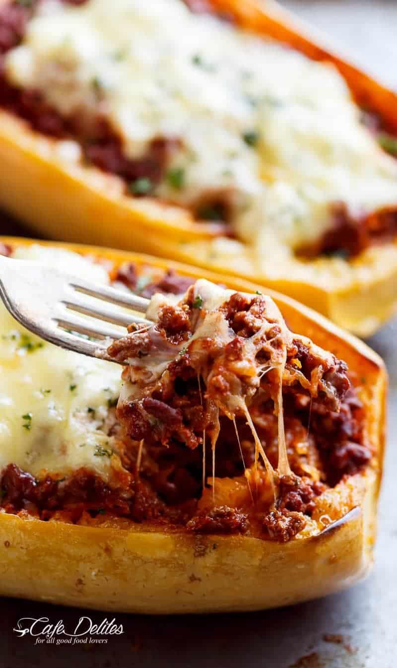 Spaghetti Squash Lasagna Boats | https://cafedelites.com