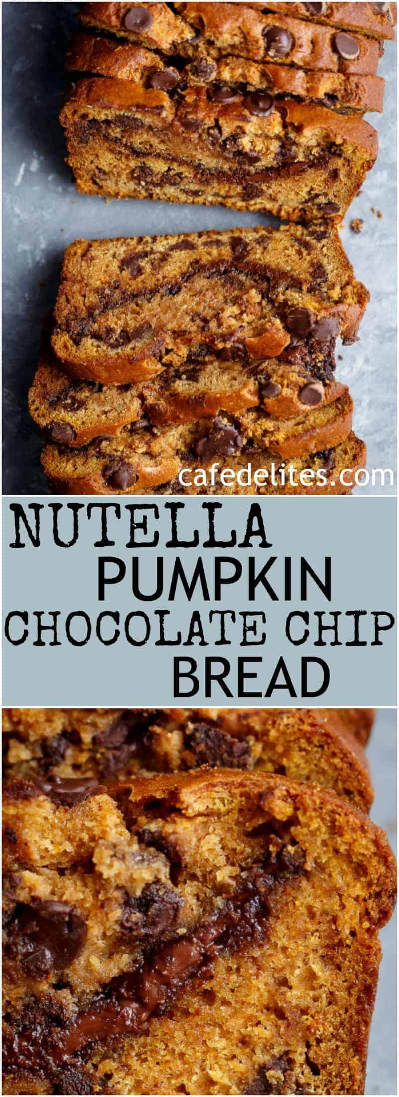 One Bowl Nutella Pumpkin Chocolate Chip Bread is filled with fall flavours and melt in your mouth chocolate chips! With just a handful of ingredients, this is THE bread of the season the whole family will love!   https://cafedelites.com
