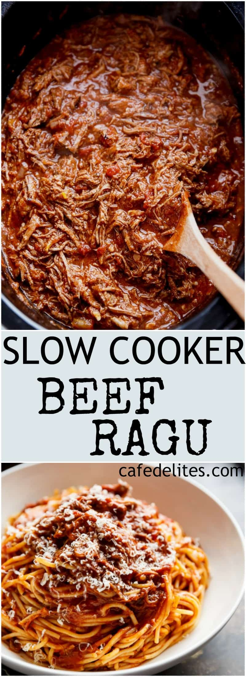 Slow Cooker Beef Ragu is a rich and tender, fall-apart tomato beef sauce. With all the magic happening in your slow cooker, come home to a satisfying, ready-made home cooked dinner! | https://cafedelites.com