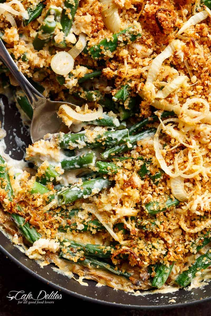An easy to make Stove Top Green Bean Parmesan Casserole, with a creamy mushroom sauce, all made from scratch and on the stove to save precious oven space! | https://cafedelites.com
