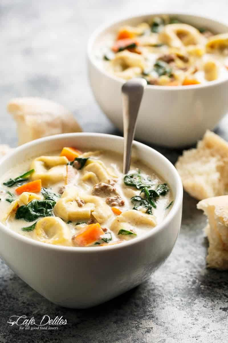 Slow Cooker Creamy Tortellini Soup | https://cafedelites.com