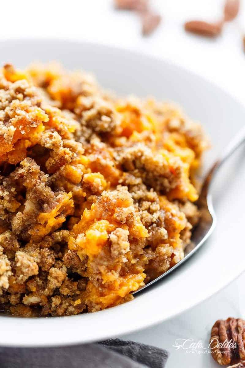Last Minute Sweet Potato Casserole (Lightened Up) | http://cafedelites.com