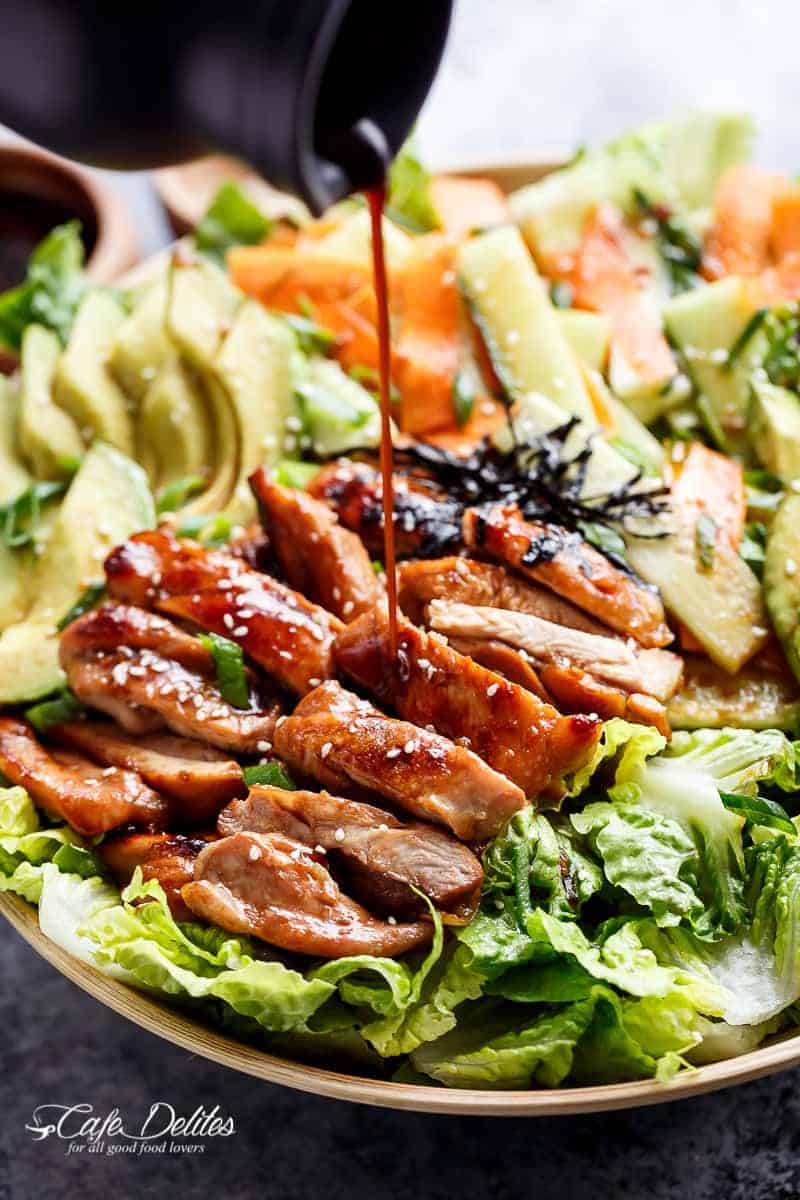 Teriyaki Glazed Chicken Salad | http://cafedelites.com