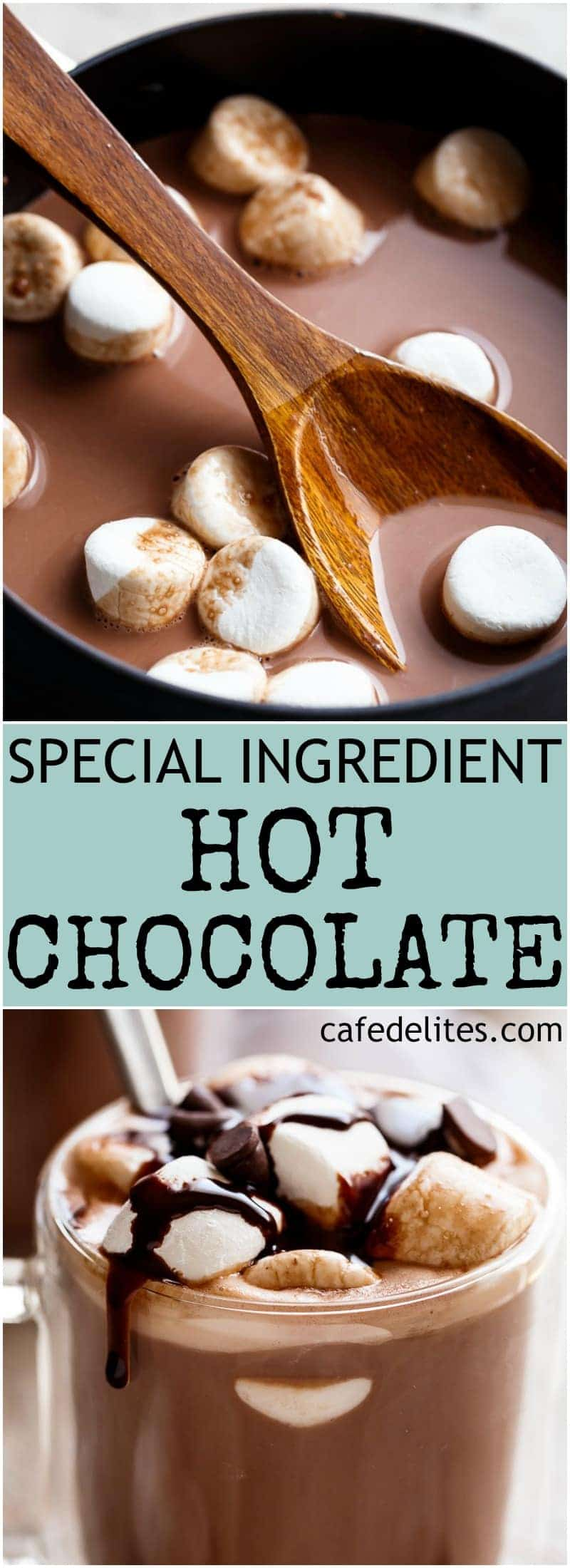 This Special Ingredient Hot Chocolate is so decadently rich and creamy, they'll be begging you for your secret! And half the calories! | https://cafedelites.com