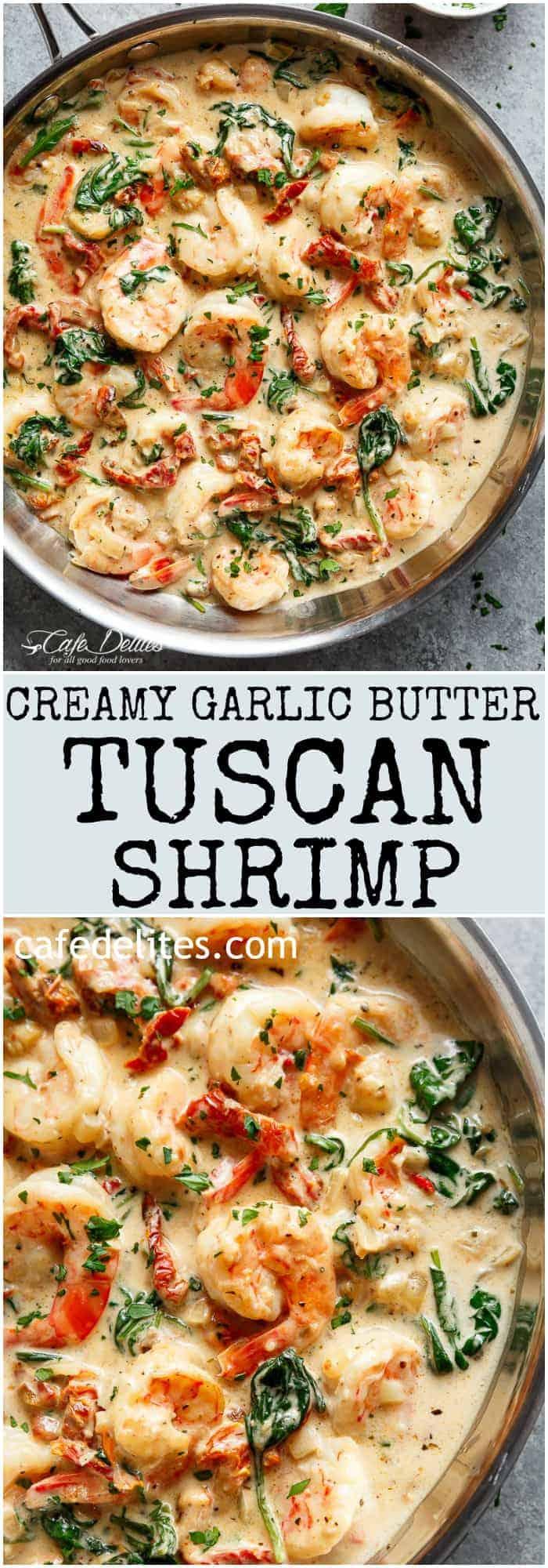 Creamy Garlic Butter Tuscan Shrimp Video Cafe Delites