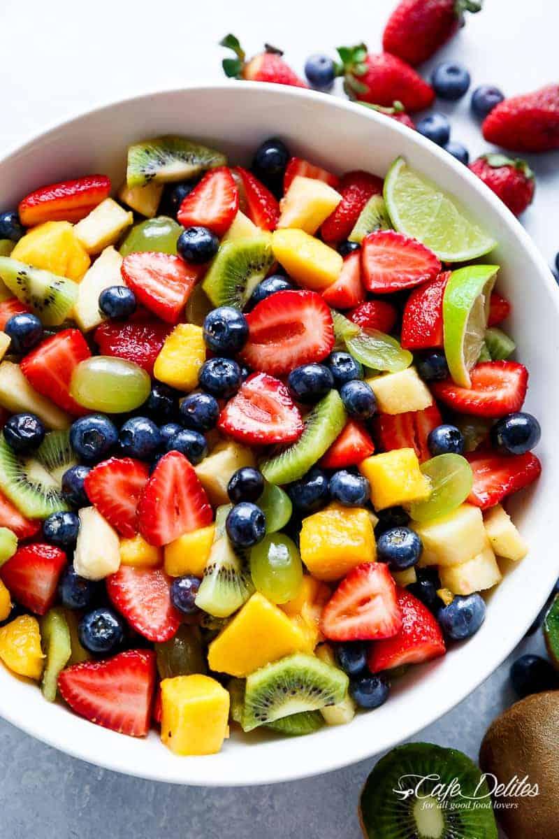 Honey Lime Fruit Salad   https://cafedelites.com