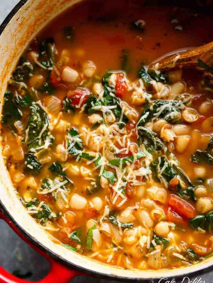 10-Minute White Bean Parmesan Spinach Soup