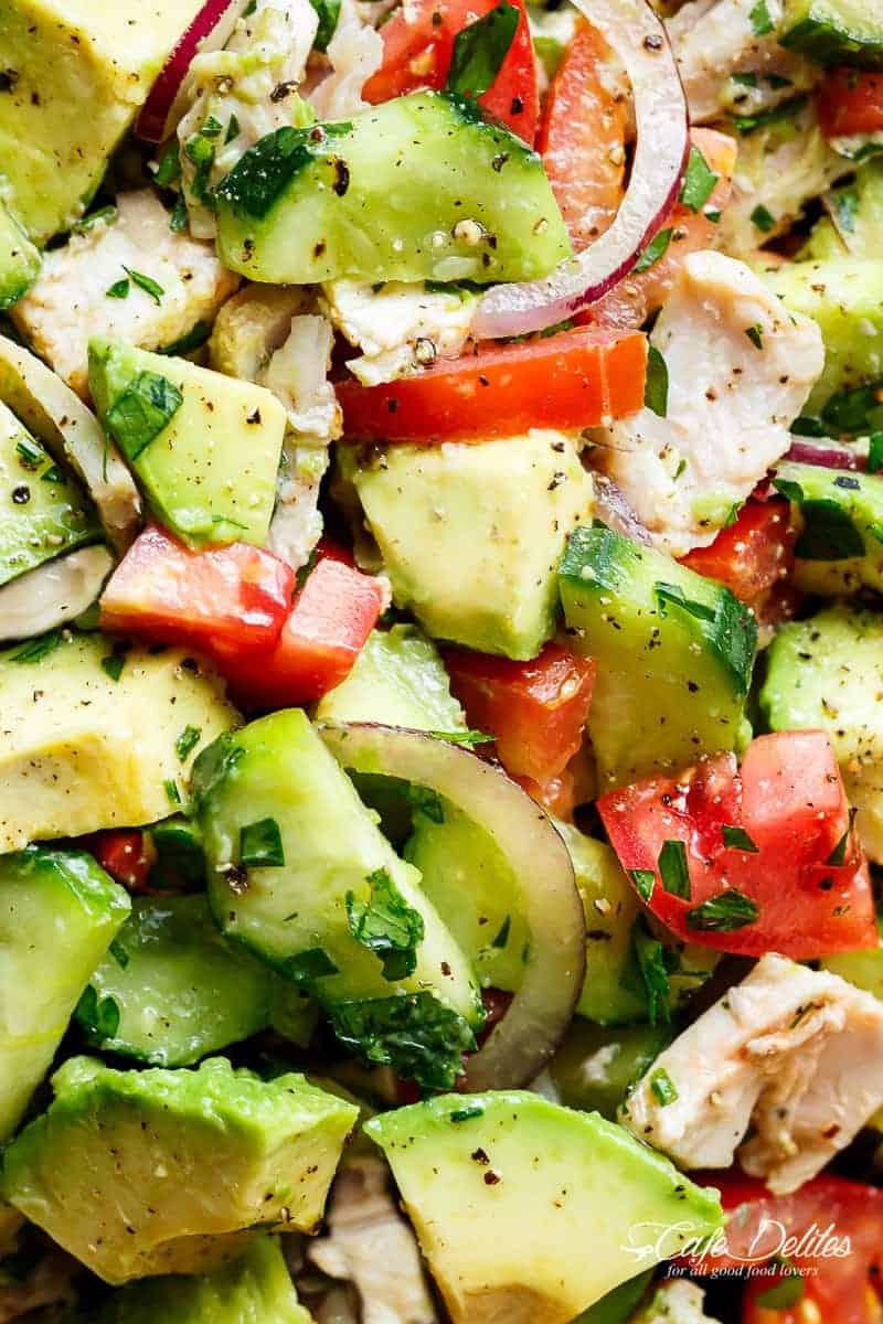 Chicken Cucumber Avocado Salad (NO COOK) - Cafe Delites