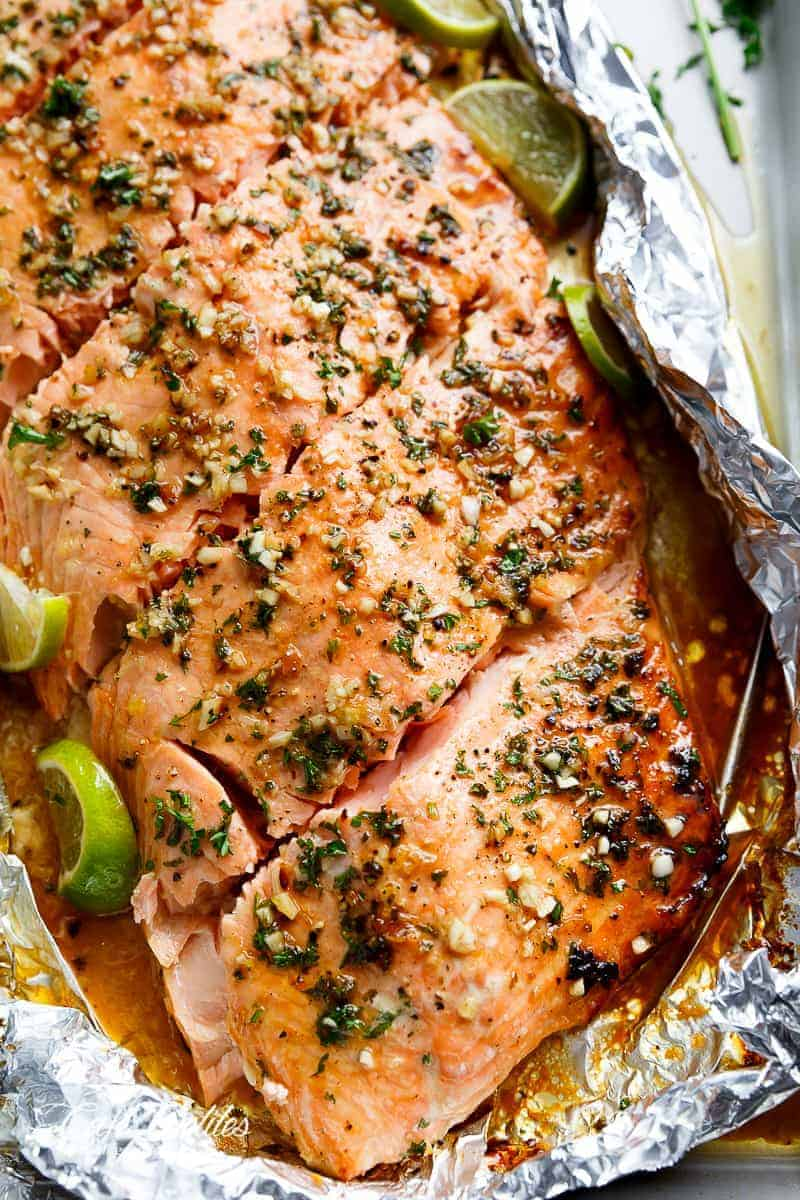 Honey Lime Garlic Butter Salmon In Foil Is Ready In Under 30 MINUTES!  Caramelized On