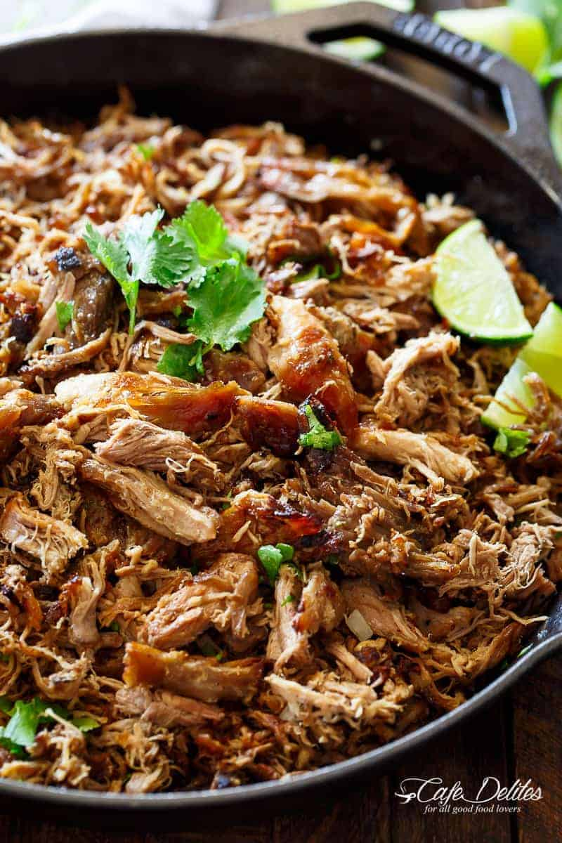 Crispy Pork Carnitas (Mexican Slow Cooked Pulled Pork) is a winner! The closest recipe to authentic Mexican Carnitas (NO LARD), with a perfect crisp finish! | cafedelites.com