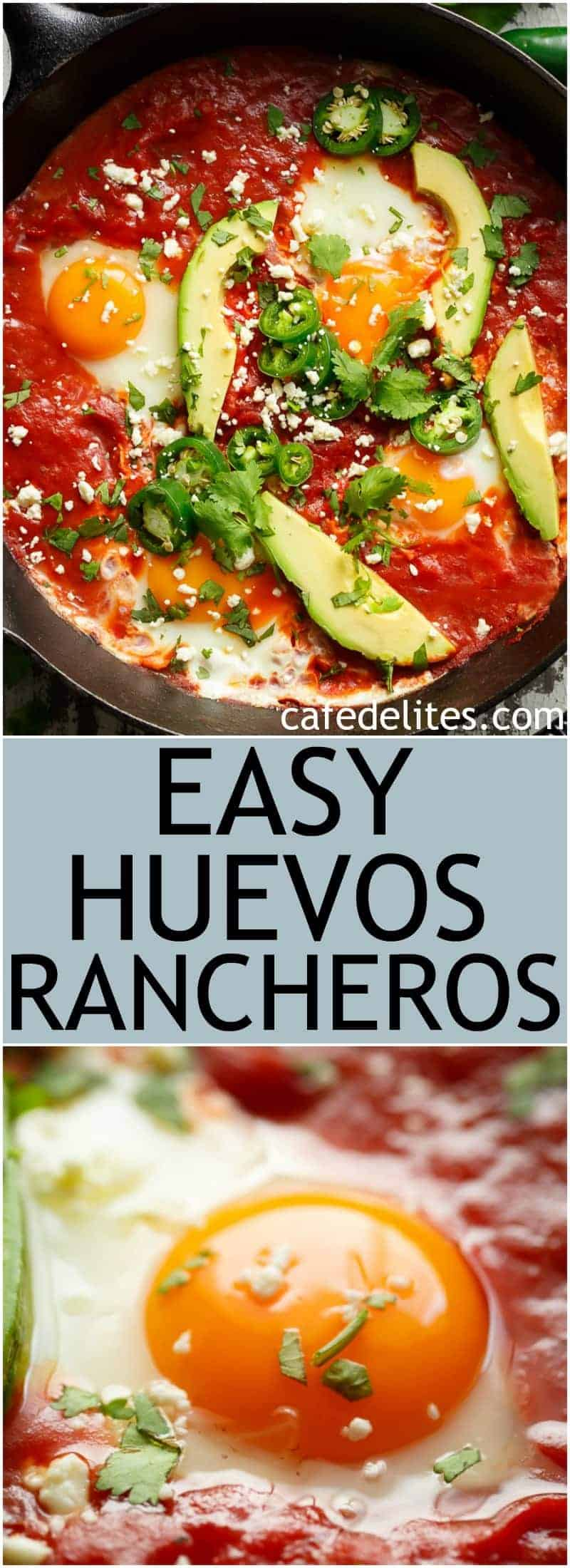 Easy Huevos Rancheros are done so fast, with an added, non traditional secret-ingredient weapon that guarantees amazing flavours! | https://cafedelites.com
