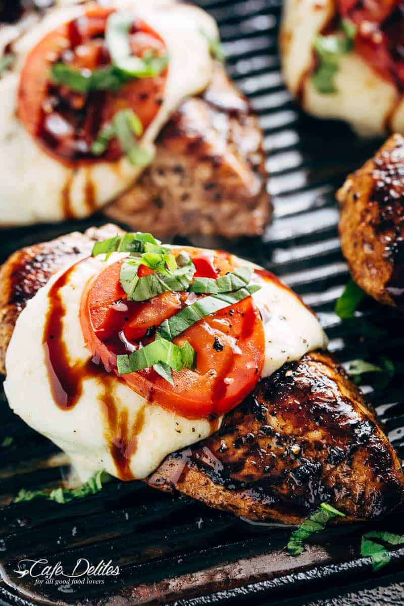 Grilled Chicken Caprese, with soft, creamy Buffalo Mozzarella slices will become a family favourite grilling recipe! A low carb lunch or dinner! | https://cafedelites.com
