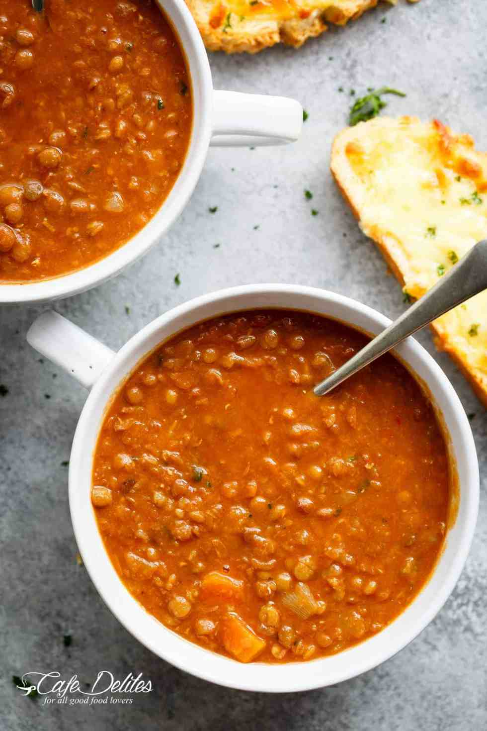 A classic hearty and filling lentil soup recipe to warm your soul! | cafedelites.com