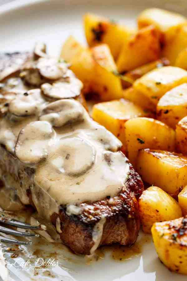 Pan Seared Garlic Butter Steak & Mushroom Cream Sauce is a perfect dinner! A little butter adds something special to your steak in less than 10 minutes! | cafedelites.com