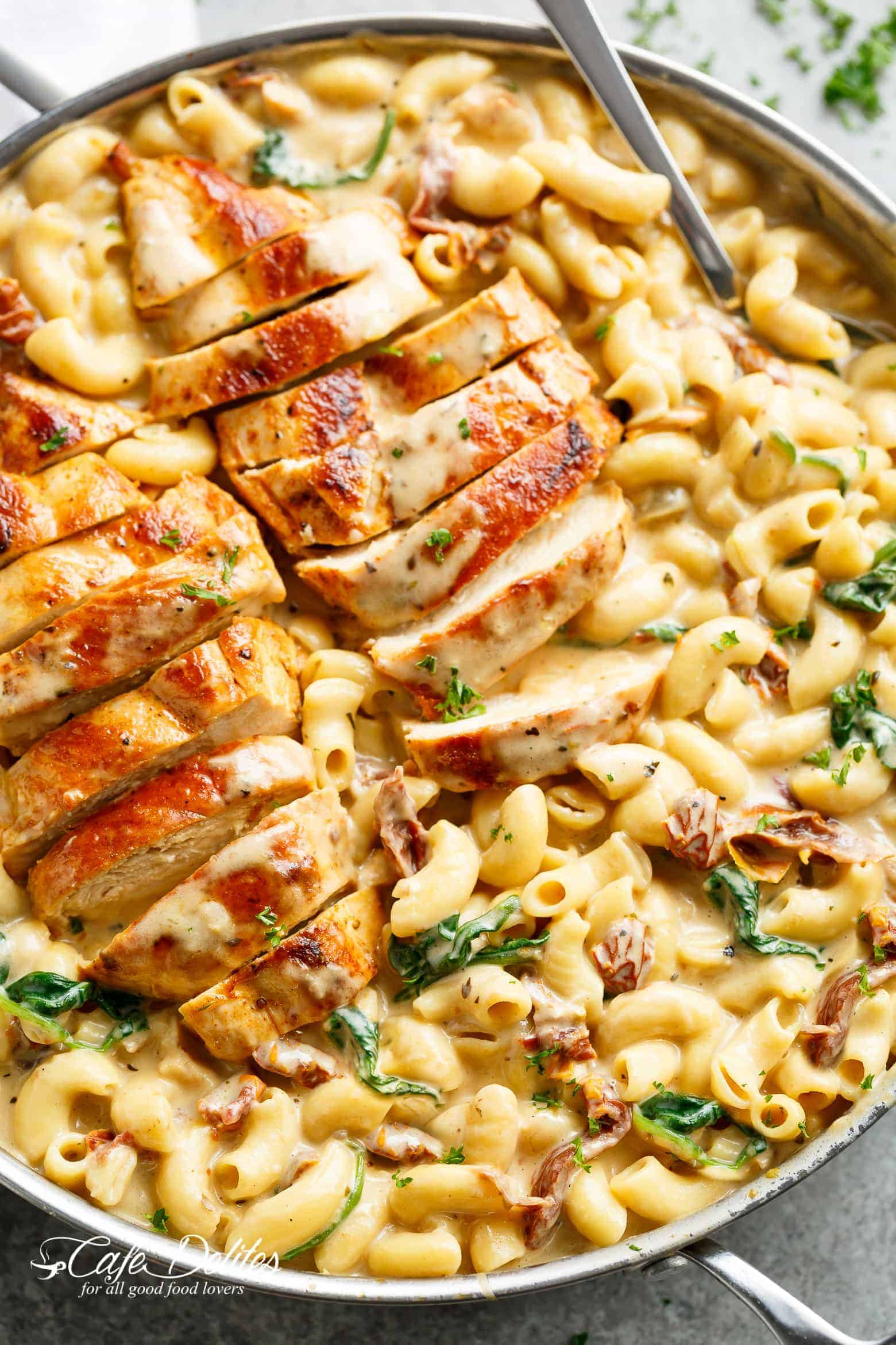 Tuscan chicken mac and cheese one pot stove top cafe delites forumfinder Image collections