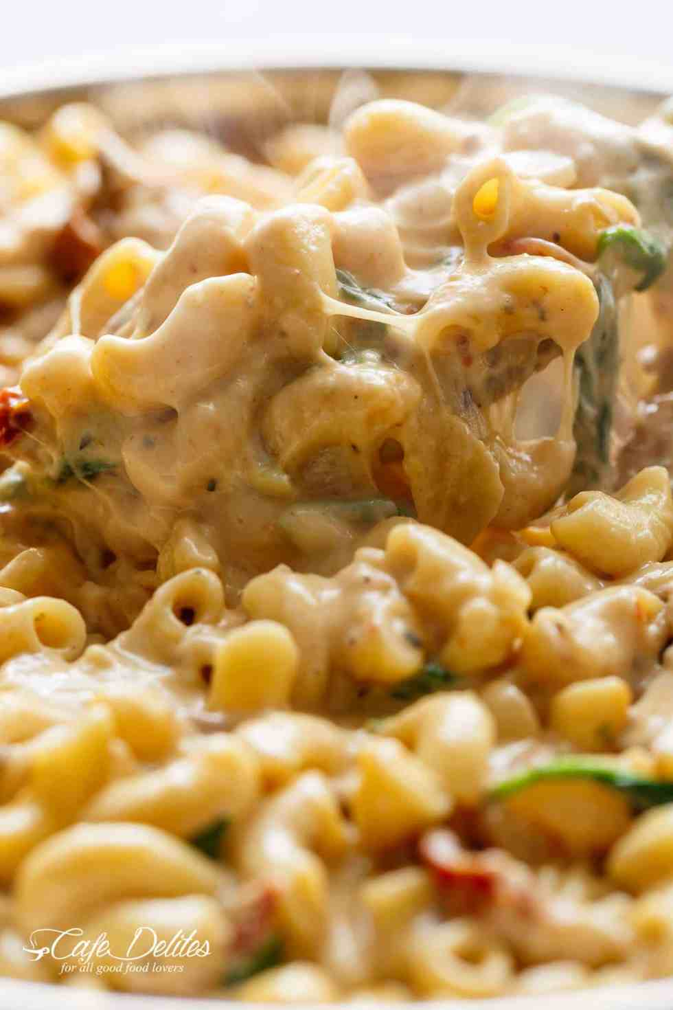 Tuscan Chicken Mac And Cheese One Pot Stove Top Cafe