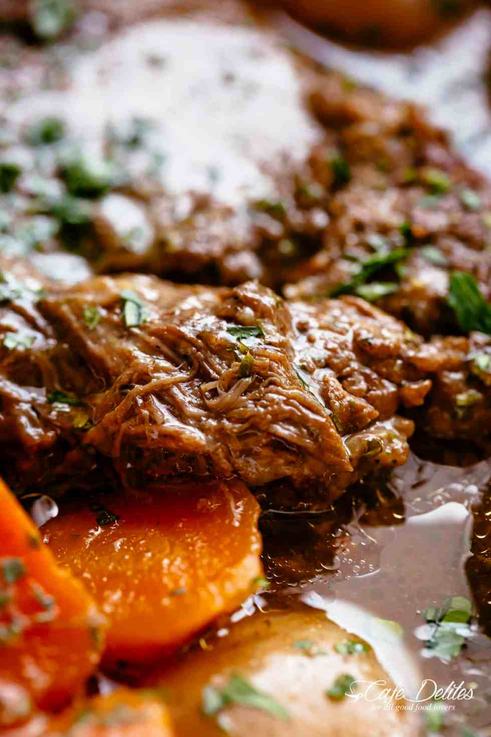 Pot Roast is perfect for an easy weekday or weekend dinner! Minimal work and maximum taste happens underneaththat lid! | cafedelites.com