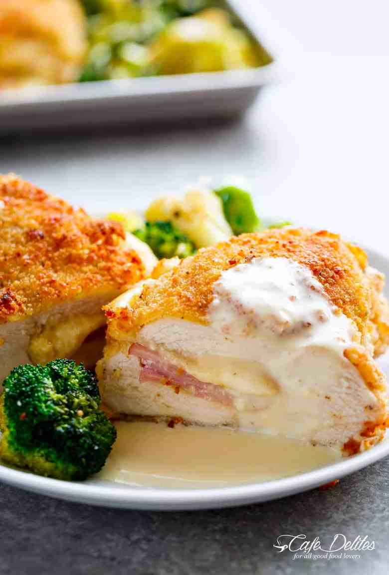 Easy Sheet Pan Chicken Cordon Bleu & Dijon Cream Sauce