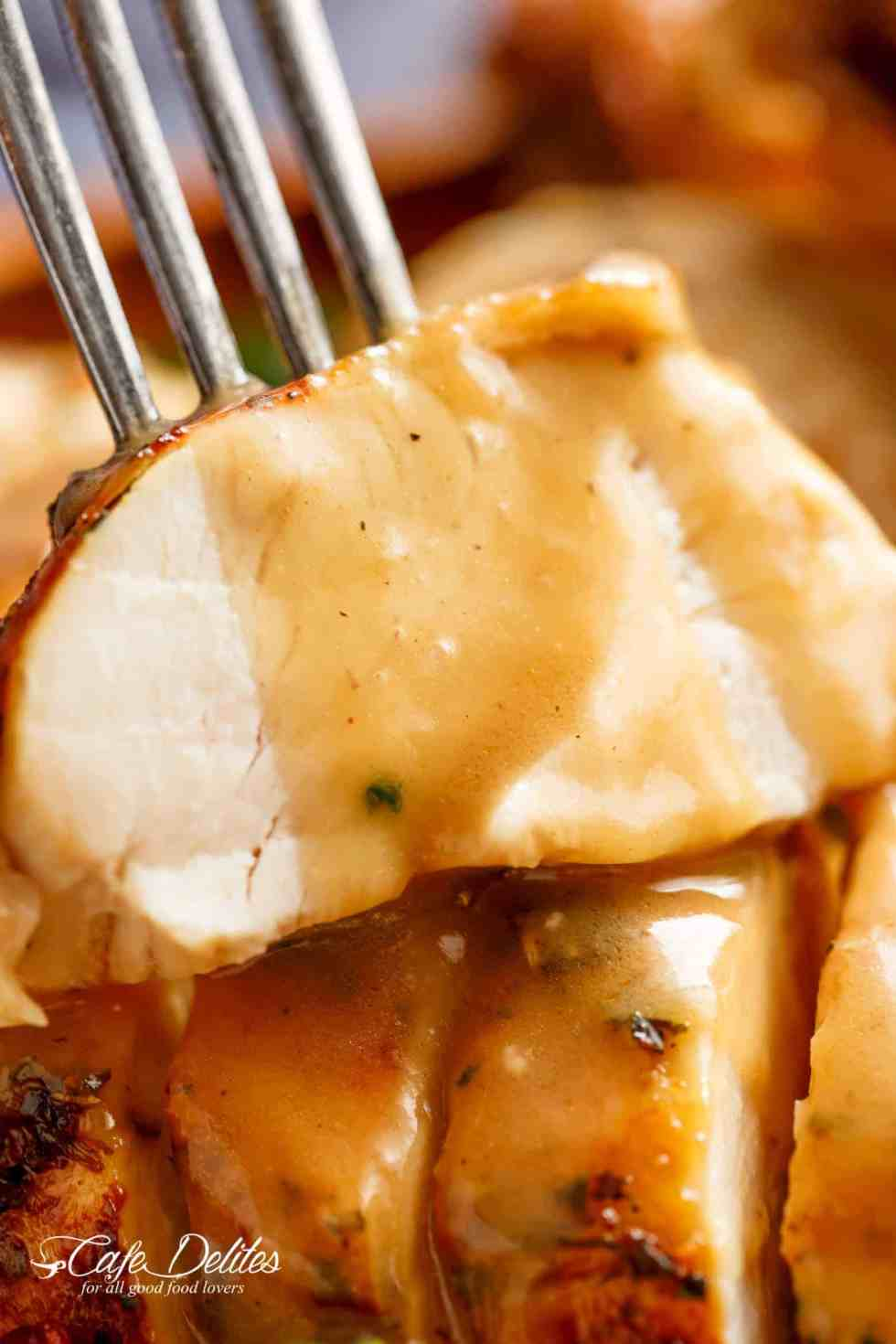 Crispy Skinned Slow Cooker Turkey is THE MOST succulent Turkey, WITHOUT brining OR marinading! This Turkey will have EVERYONE talking! cafedelites