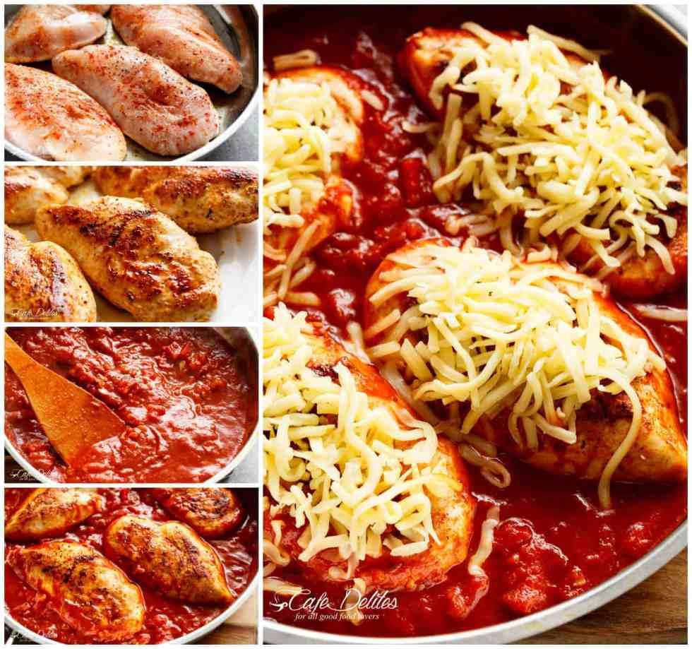 How To Cook Bake Easy Mozzarella Chicken | cafedelites.com