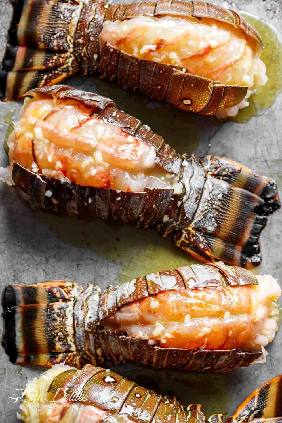 Sheet pan lobster tails to broil or oven bake | cafedelites.com
