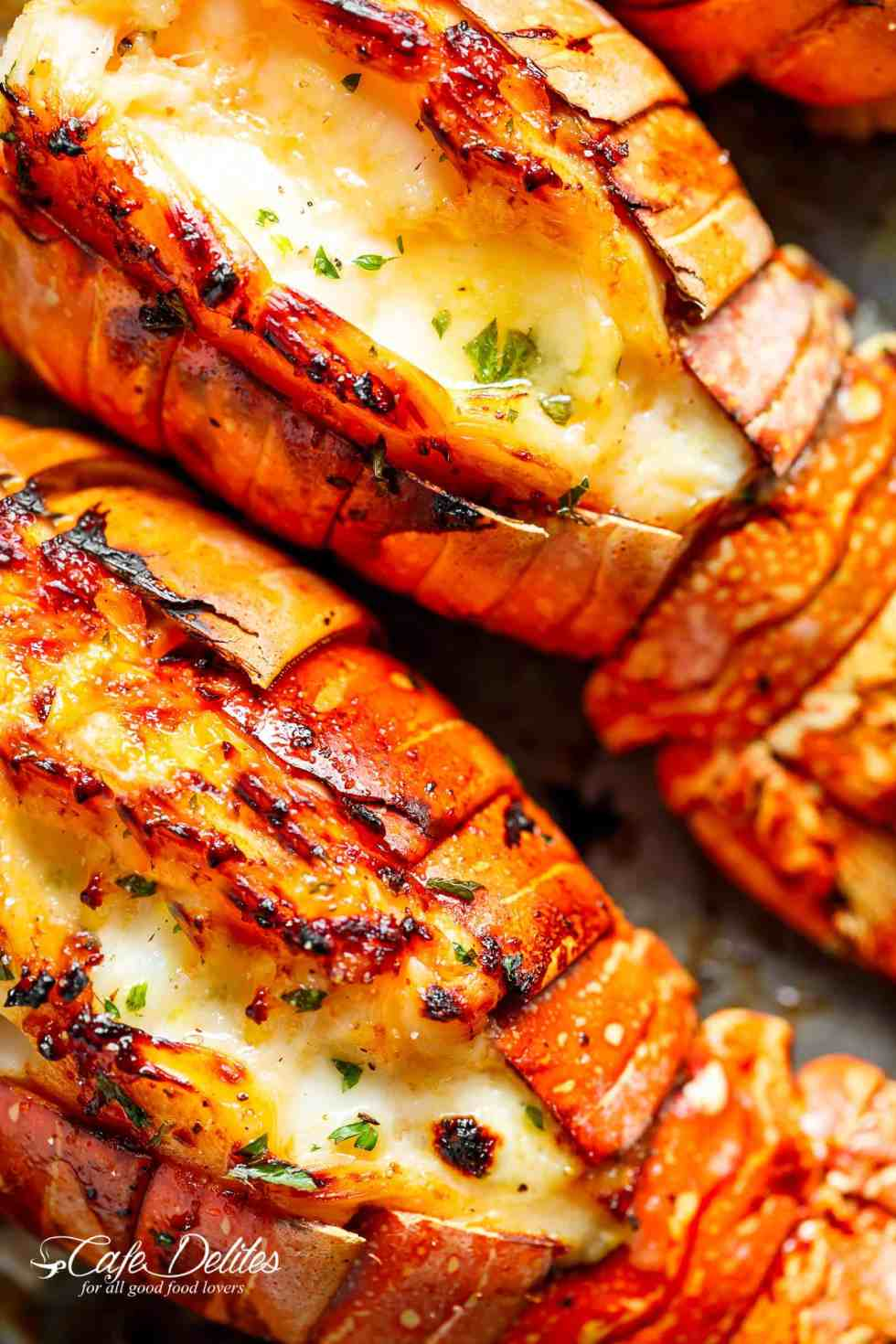 Broiled Lobster Tails with Honey Garlic Butter White Wine Sauce | cafedelites.com