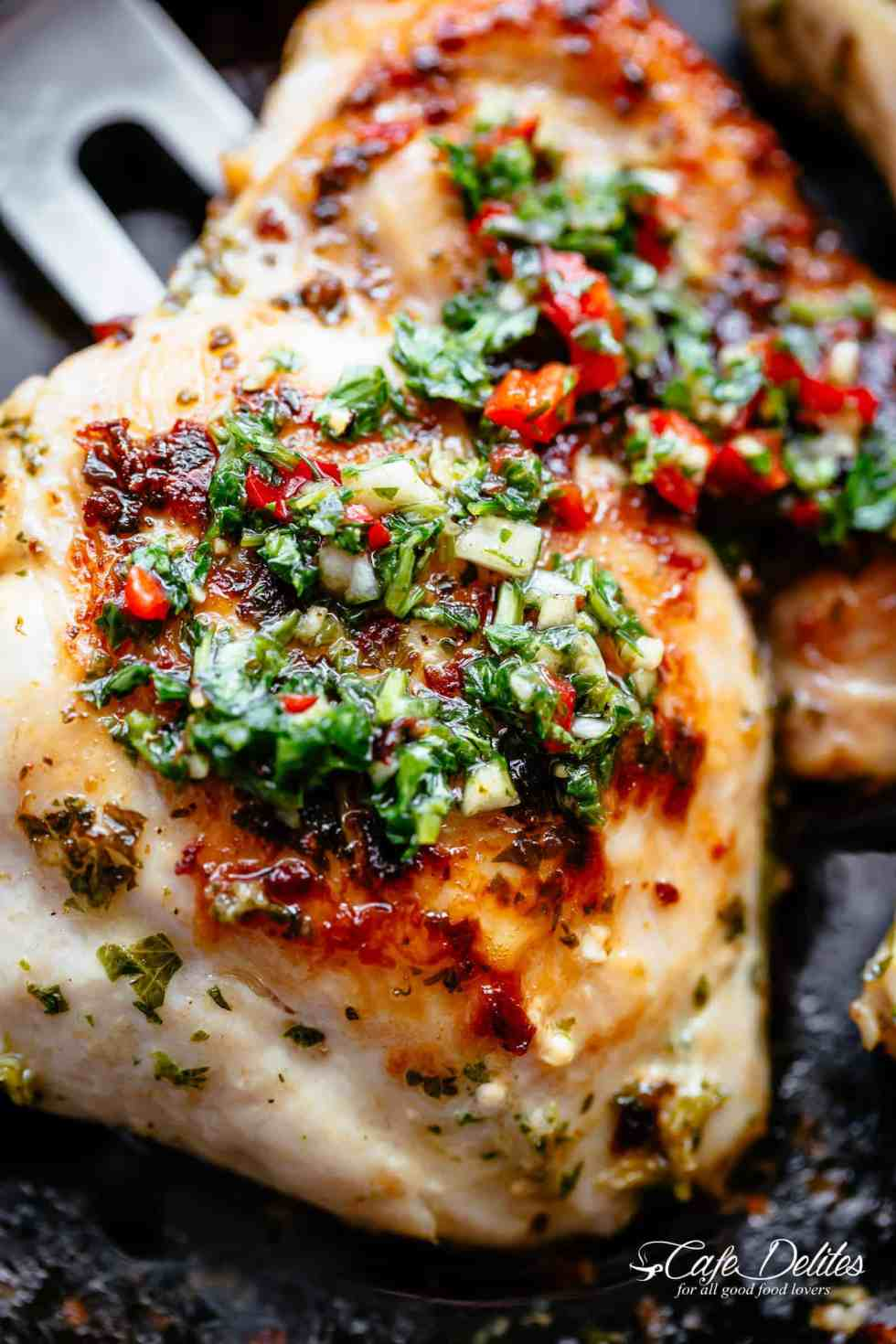 The Best Chimichurri Chicken is ready in minutes! | cafedelites.com
